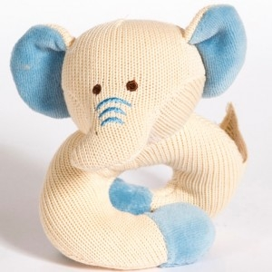 miyim knitted rattle teether elephant